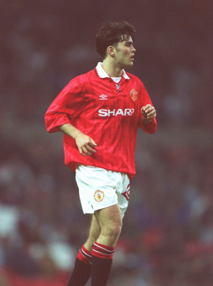 Ben Thornley pictured playing for Man United in April 1993.