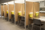 Injection booths are seen at the Cactus safe injection site in Montreal, Canada