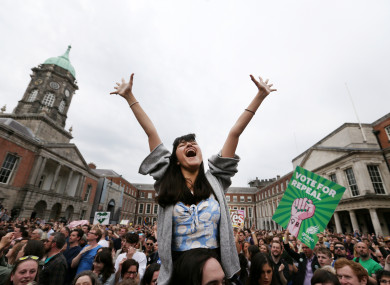 Jubilant scenes from Dublin Castle earlier this year when the referendum on the Eighth Amendment was passed.