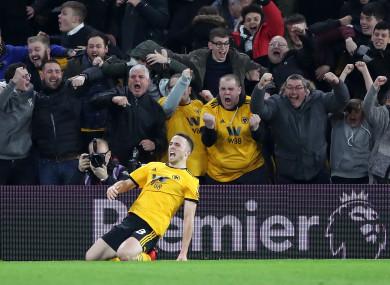 Wolverhampton Wanderers' Diogo Jota celebrates scoring.