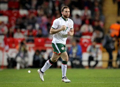 Alan Judge makes his long-awaited return for Ireland in last year's friendly against Turkey.
