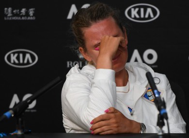 Victoria Azarenka of Belarus shows her disappointment at a press conference on Tuesday.