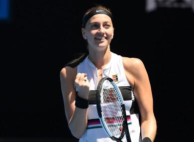 Petra Kvitova celebrates her win at today's Australian Open.