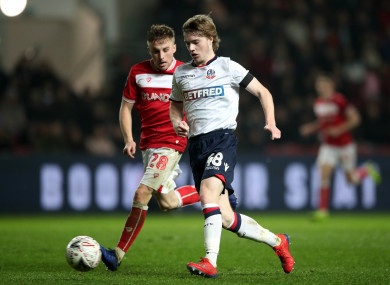 Luca Connell (right) in action against Bristol City for Bolton last weekend.