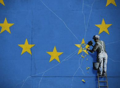 Part of a mural by street artist Banksy in Dover.