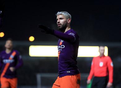 Manchester City's Sergio Aguero celebrates scoring.