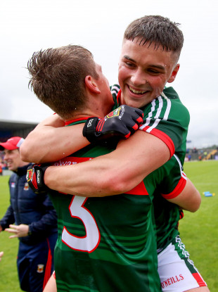 Colm Moran celebrates with Brian O'Malley  at the final whistle after winning the EirGrid Connacht GAA U20 Championship Final at Dr. Hyde Park.