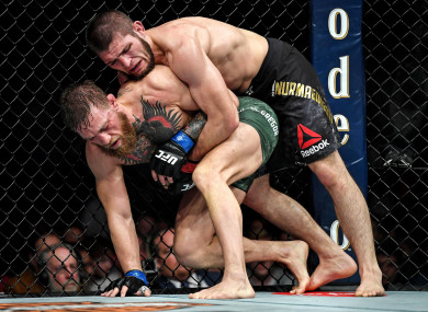 Lightweight champion Khabib Nurmagomedov en route to victory against Conor McGregor at UFC 229.