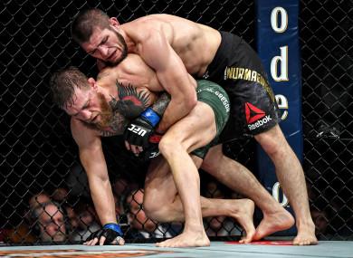 Khabib Nurmagomedov en route to victory against Conor McGregor last October at UFC 229 in Las Vegas.