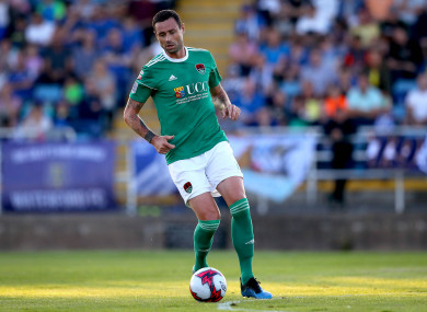 Delaney playing for Cork City against Waterford last August.
