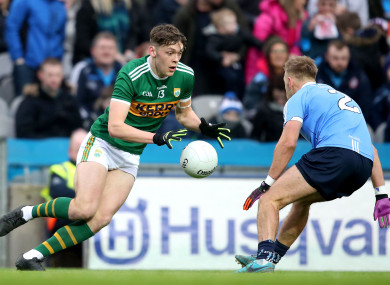 David Clifford takes on Jonny Cooper during the 2018 league meeting between Kerry and Dublin.