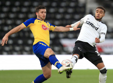 Shane Long in action for Southampton against Derby County.