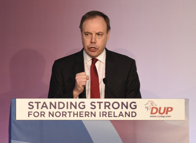 Deputy DUP leader Nigel Dodds speaking during the DUP annual conference.