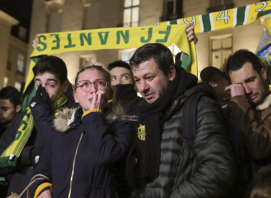 Supporters of FC Nantes gather to pay tribute to Argentinian soccer player Emiliano Sala.