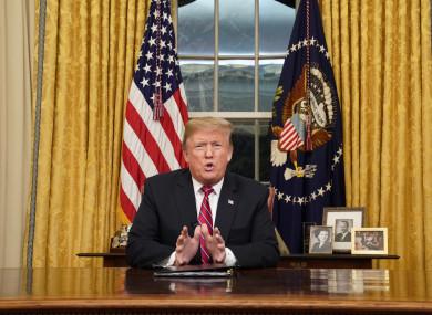 The US President delivering the live televised address.