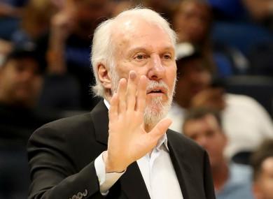 San Antonio Spurs head coach Gregg Popovich. (file pic)