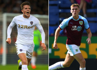 Leeds United's Conor Shaughnessy (left) will join Hearts on loan following the return of Jimmy Dunne (right) to Burnley.