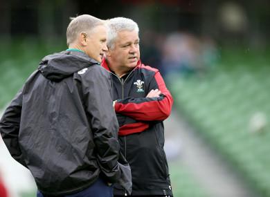 File photoe: Gatland in conversation with Joe Schmidt at the Aviva Stadium.