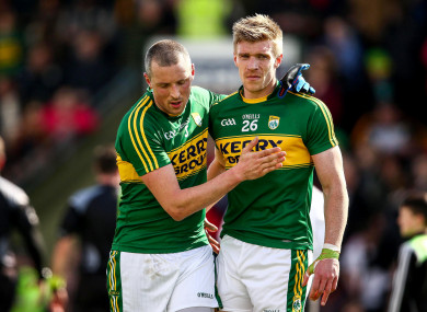 Kieran Donaghy and Tommy Walsh after a 2016 league game for Kerry against Cork.