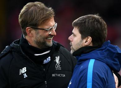 Liverpool boss Jurgen Klopp with Tottenham counterpart Mauricio Pochettino.