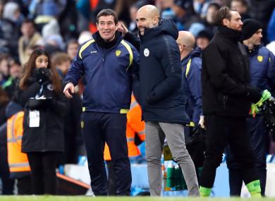 Burton Albion manager Nigel Clough alongside Pep Guardiola.