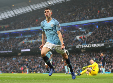 Foden celebrates scoring just his second goal for Man City.