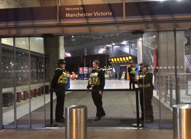 The scene yesterday in Manchester Victoria Station.