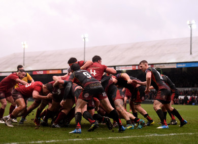 Munster maul towards the Dragons' line.