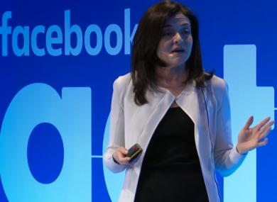 Facebook CEO Sheryl Sandberg speaking in Dublin this morning.