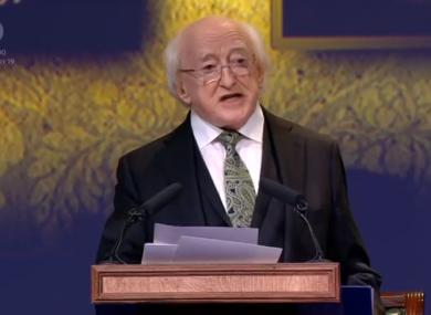 Michael D Higgins addresses the joint sitting of Dáil Éireann and Seanad Éireann