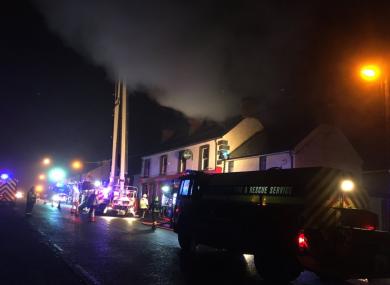 Crews attending last night's blaze.