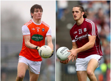 Armagh's Jarlath Óg Burns and Galway's Kieran Molloy were in opposition today.