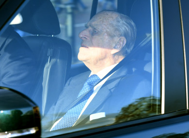 The Duke of Edinburgh arriving for the Queen's Christmas lunch at Buckingham Palace.