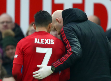 Alexis Sanchez went off injured against Reading