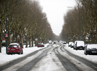 Snow on Griffith Avenue in Dublin in March 2018.