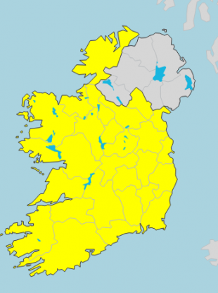 The current Status Yellow warning is only valid for counties in the Republic of Ireland
