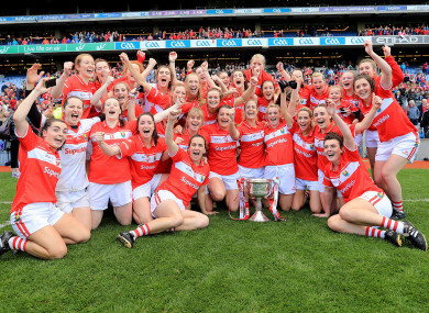 The victorious Cork Ladies team after winning the 2016 All-Ireland.