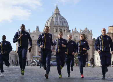 Members of the Vatican athletics team.