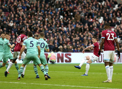 Declan Rice gives West Ham the lead against Arsenal.