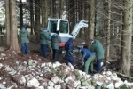 Gardaí during a dig for weapons in Omeath last month,