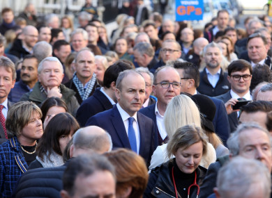 Fianna Fáil leader Mícheál Martin in a large crowd of doctors protesting outside the Dáil (February 2019).