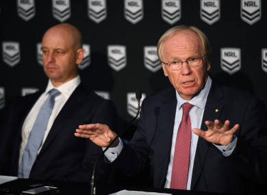 Australian Rugby League Commission Chairman Peter Beattie addressing the media.