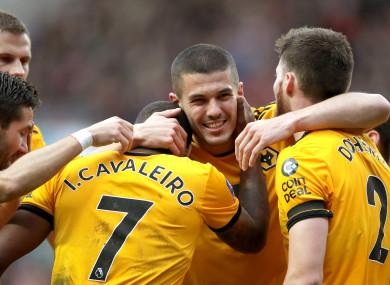 Wolverhampton Wanderers' Ivan Cavaleiro (left) celebrates.