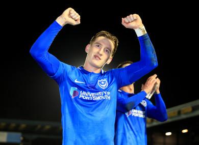 Ronan Curtis celebrates at full-time.