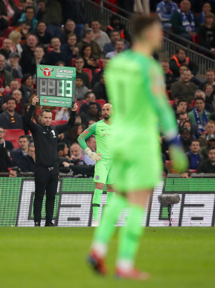 Kepa's number goes up, before the substitution got waved off.