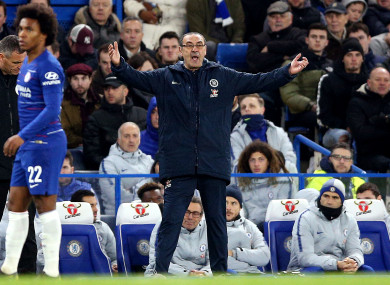 Maurizio Sarri on the sideline during Chelsea's defeat to Man United.