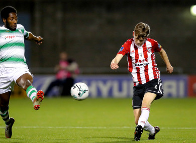 Ciaron Harkin in action against Shamrock Rovers last week.