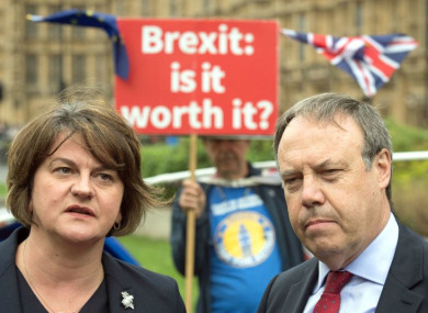 DUP leader Arlene Foster and deputy leader Nigel Dodds pictured in Westminster, London, in September.