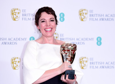 Olivia Colman with her Best Actress in a Leading Role Bafta.