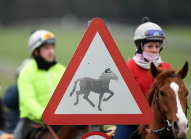 A view of a horse sign at the the gallops in Newmarket.